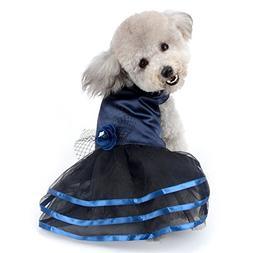 SELMAI  Pet Retro Formal Dress for Small Dog Girl Flower Sat