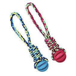 Legendog Pet Rope Toy, 2 Pack Dog Chew Toy Elastic Rubber Bi
