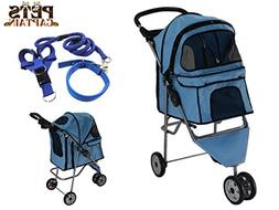PetsCaptain Pet Stroller Cat & Dog Folding Travel Carrier Ca