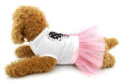 SELMAI Small Pet Girl Clothes Tutu Dress Princess Dots Heart