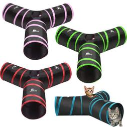 PAWABOO Pets Cat Rabbit Extensible Collapsible 3 Way Tunnels