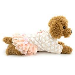 SELMAI Pink Dog Dress Dots Sweatshirts Lace Small Dog Print