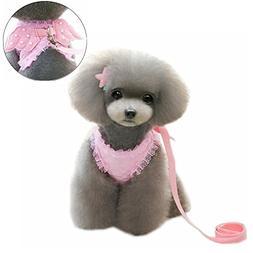 M2cbridge Pink Dog Puppy Harness Leash Collar Cat Vest Strap