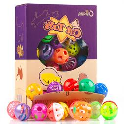Chiwava 48 Pack Plastic Noisy Cat Toy Balls with Bell Kitten
