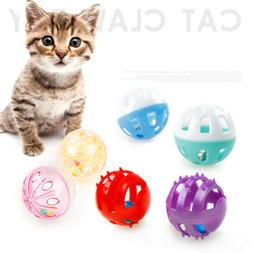 Plastic Puppy Cat Kitty Round Play Ball With Bell Pounce Cha