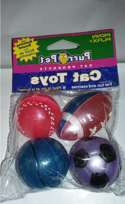plastic sports balls with bells cat toy
