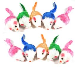 Play Fur Mice Cat Toys – Mixed Bag of 10 Play Mice with Ra
