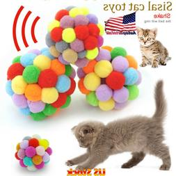 Plush Bouncy Ball Cat Toy Colorful Handmade Bells Interactiv
