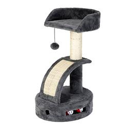 IRIS Plush Cat Perch with Dangling Toy, Scratch Pad, and Gam
