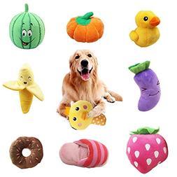 WSXUS Small Plush Dog Toys Set, Fruit and Vegetable Plush Sq