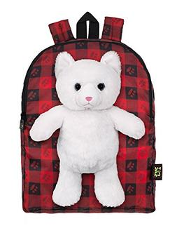 Plush Stuffed Cat Toy Doll with Pull Out Backpack, Red, One