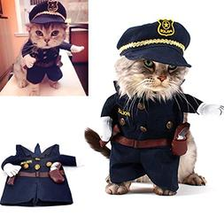 SMALLLEE_LUCKY_STORE Funny Cat Halloween Costume Dog Police