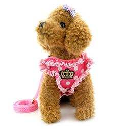 SMALLLEE_LUCKY_STORE Polka Dot Small Dog Cat Harness Vest wi