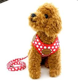 SELMAI Small Dog Harness Vest Leash Set Polka Dot Mesh Padde