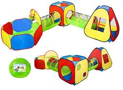 UTEX Pop Up Play Tents with 2 Tunnels and Ball Pit/w basketb