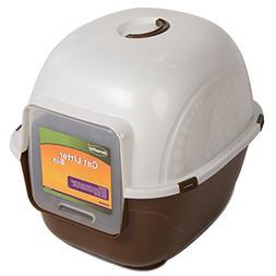 Favorite Portable Side Enter Covered Cat Litter Box, Brown,