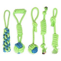 ZoyPet 5 Pack Puppy Chew Teething Rope Knots Toys Frisbee De