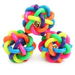 Puppy Dog Toy Colorful Bouncy Rubber Balls with Bell for Pet
