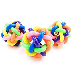 Wildgirl Puppy Pet Colorful Wobbly Ball Toy with Small Bell