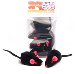 Rabbit Fur Mice 5 pack Cat Toy Black They RATTLE! ON SALE! H