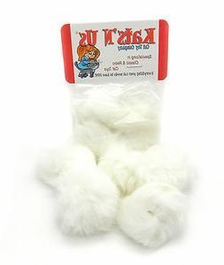 Rabbit Fur Pom Pom Ball Cat Toy 5 Pak  - Solid White