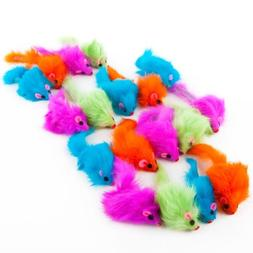Rainbow Plush Rattling CatNip Mice cat toy Size:Pack of 24