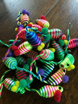 RAINBOW STRIPES MICE CAT TOYS - Lots 3/12/24 Hollow Lightwei