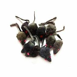 12 Piece Pack Rattle Furry Mice Cat Toy Realistic Fur Mice S