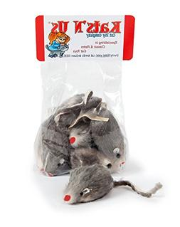Real Rabbit Fur Mouse Cat Toy - 5 Pak - Hard Body