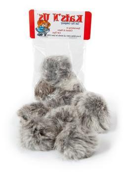 Real Rabbit Fur Pom Pom Cat Toy - 5 Pak