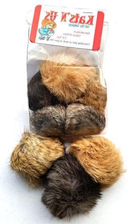 Real Rabbit Fur Pom Pom Cat Toy - 5 Pak Jumbo Size