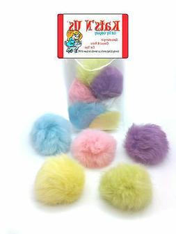 Real Rabbit Fur Pom Pom Ball Cat Toy - Colorful Flying Fuzz