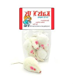 Real Rabbit Fur White Mouse Cat Toy - 5 Pak - WITH RATTLE SO