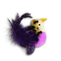 Our Pets Realbird Purple Cat Toy with Catnip and Real Bird S