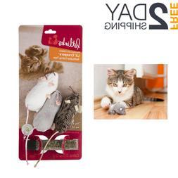 Petlinks Refillable Catnip Cat Toys Felt Mice 3 Ct