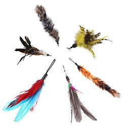 6 Pcs Replacement Refill Feathers Teaser Cat Catcher Toy and