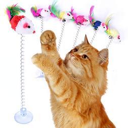 VOCOO 6pcs Retractable Cat Toys,Funny Cat Stick Including Ca