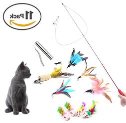 Jetloter 11 Pack Retractable Cat Toys Interactive Feather Te
