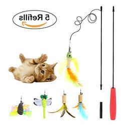 AiMiiNiii Retractable Cat Toys Interactive Feather Teaser Wa