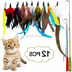 B Bascolor Retractable Cat Toys Interactive Feather Teaser W