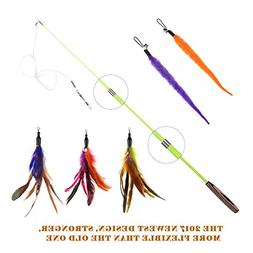 etrech Retractable Cat Wand Rod With 3 pieces Feather teaser