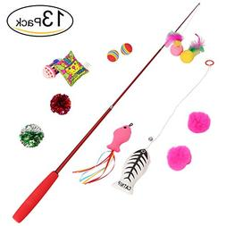 etrech Retractable Cat Wand Rod With 12 Different Replaceabl
