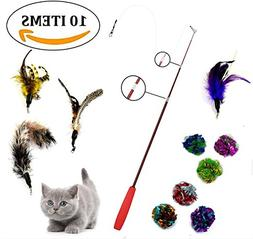 Goldween Retractable Cat Wand, Teaser | Interactive Cat Toy
