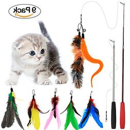 Tacobear 2 Piece Retractable Interactive Teaser Cat Wand 7 R
