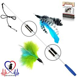 Pet Fit For Life Retractable Wand with 2 Feathers For Your C