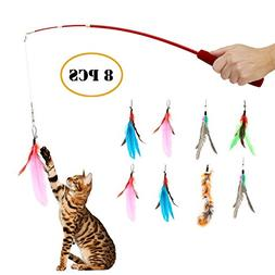 Retractable Wand , Multi Feather Teaser and Exerciser For Yo