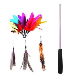 Etrech Retractable Wand Rod with 8 Piece Assorted Feather Ca