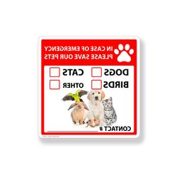 Save Our Pet Sticker Emergency Rescue Dog Cat Bird Home Wind