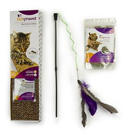 SmartyKat 3 Count Scratcher, Catnip & Wand Toy for Cats