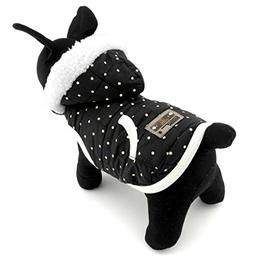 SELMAI Dots Hooded Dog Jacket Fleece Lined for Small Dog Pup
